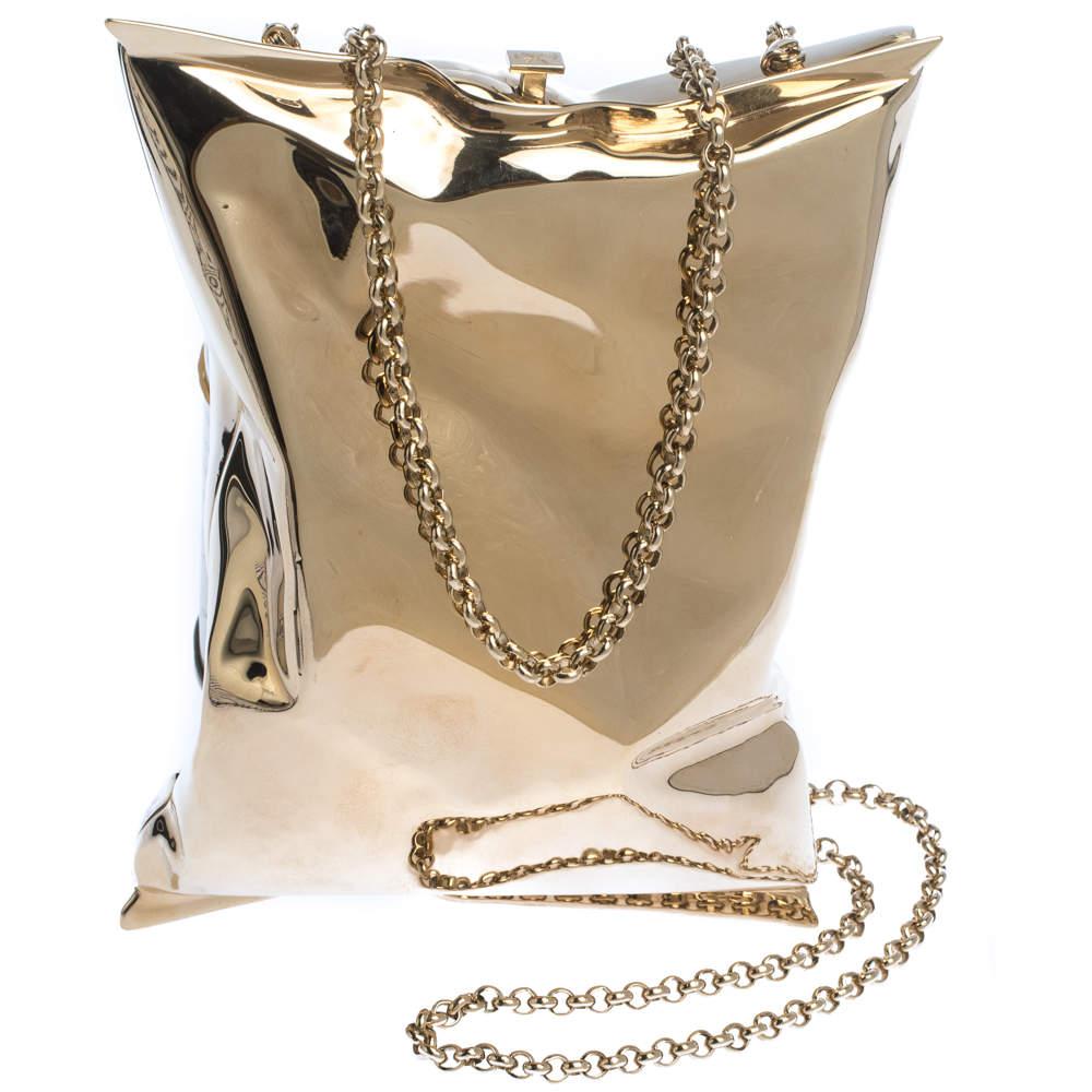 Anya Hindmarch Metallic Gold Metal Crisp Packet Clutch