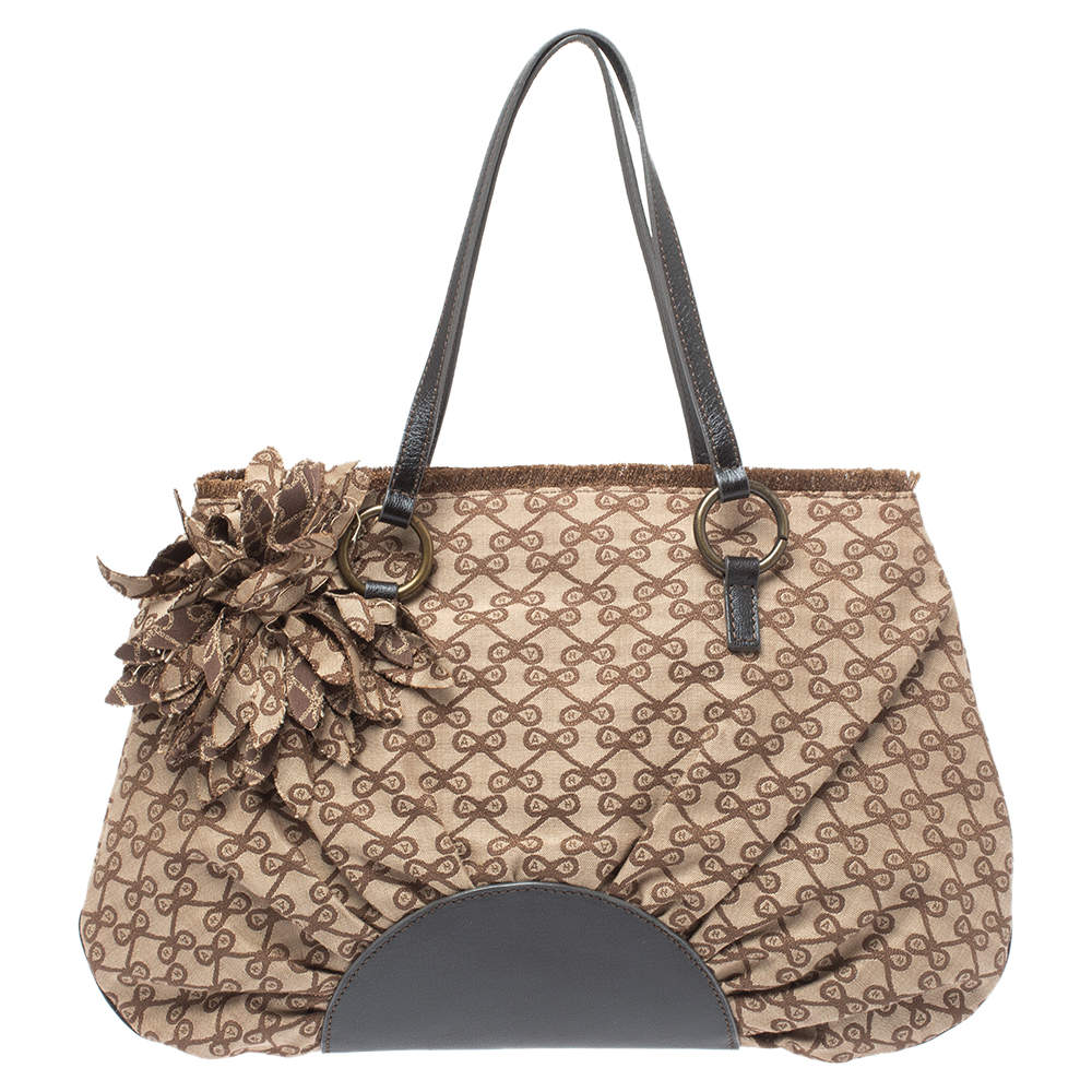 Anya Hindmarch Brown Monogram Canvas and Leather Pleated Tote