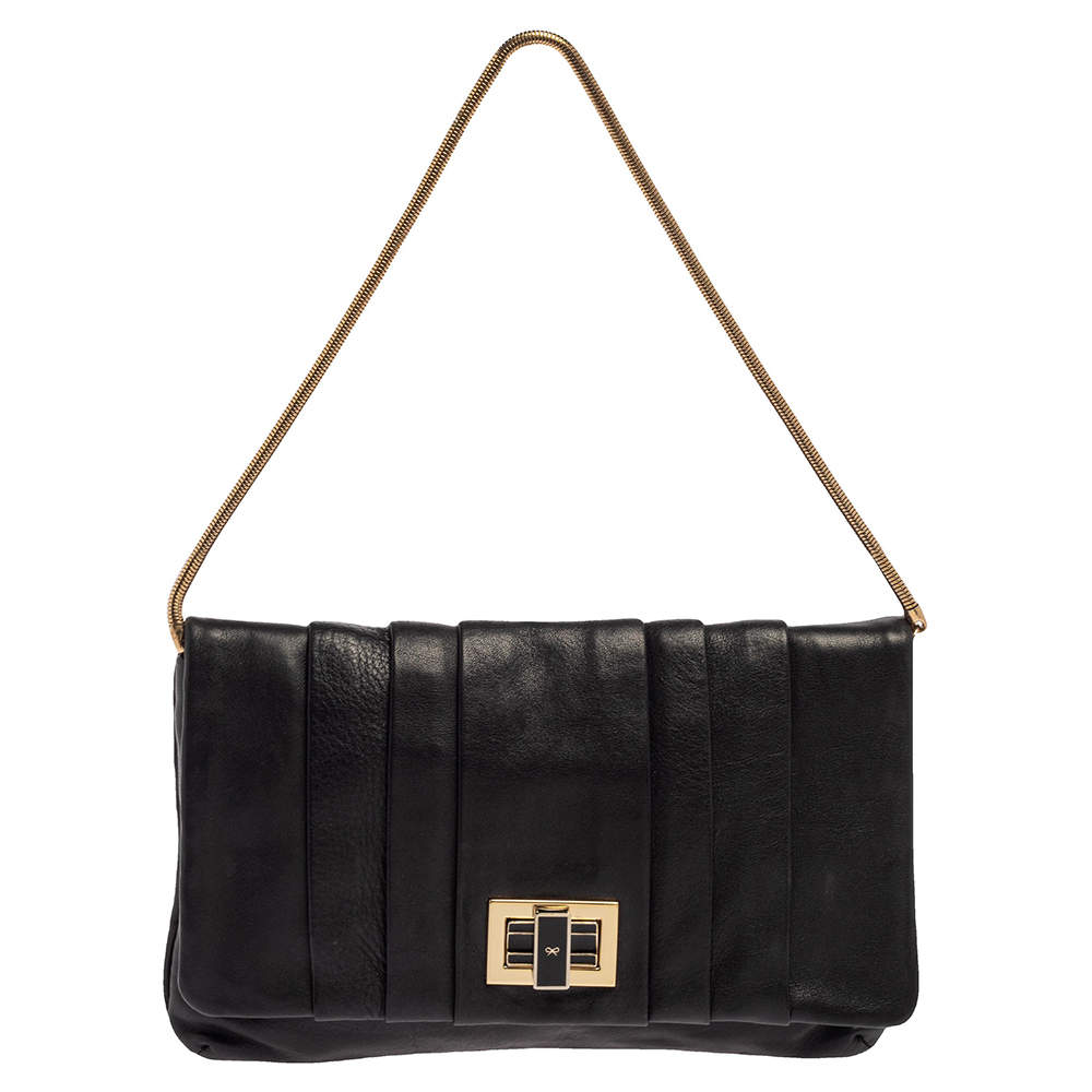 Anya Hindmarch Black Leather Flap Pochette Bag