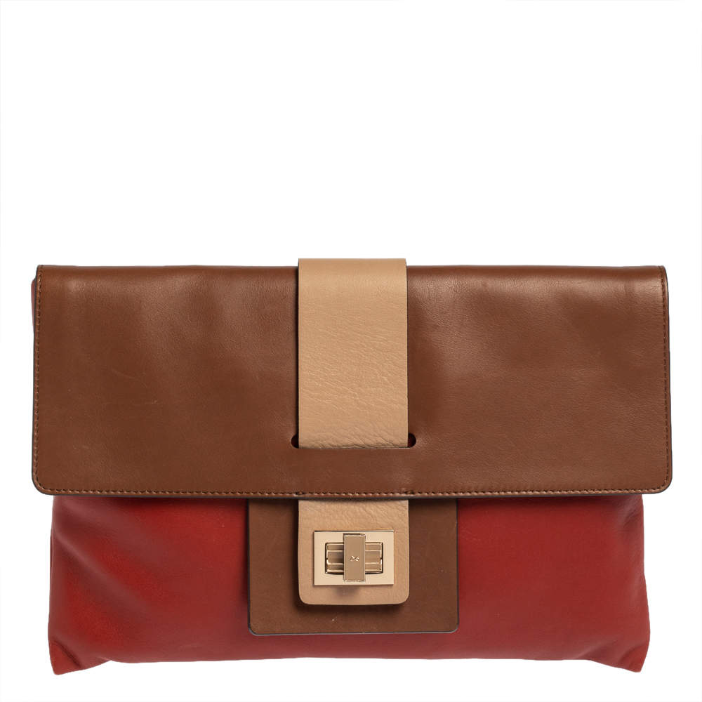 Anya Hindmarch Multicolor Leather Turnlock Flap Clutch