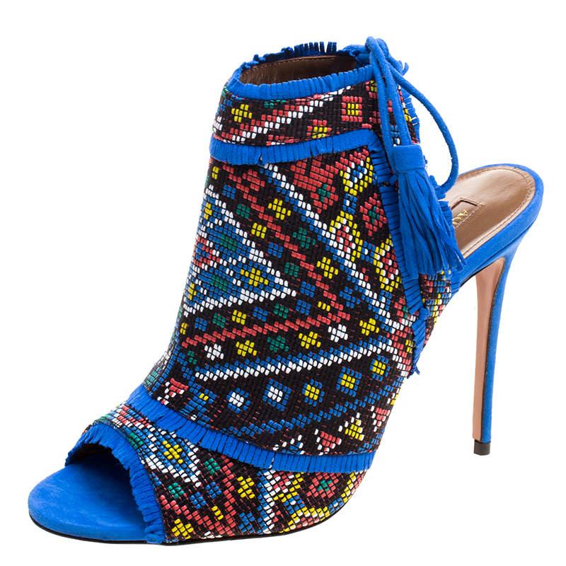 Aquazzura Multicolor Embroidered Fabric and Suede Colorado Peep Toe Sandals Size 38.5