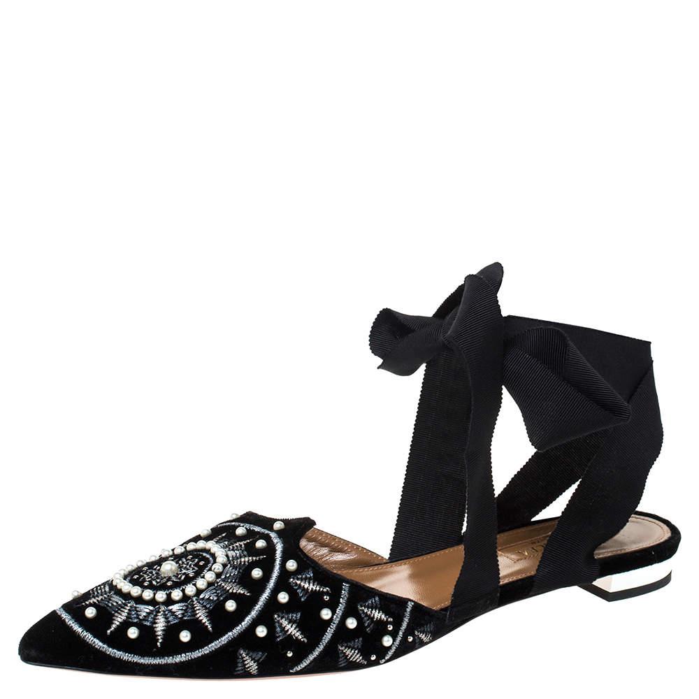 Aquazzura Black Embellished Velvet Stellar Ankle Wrap Flat Mules Size 38