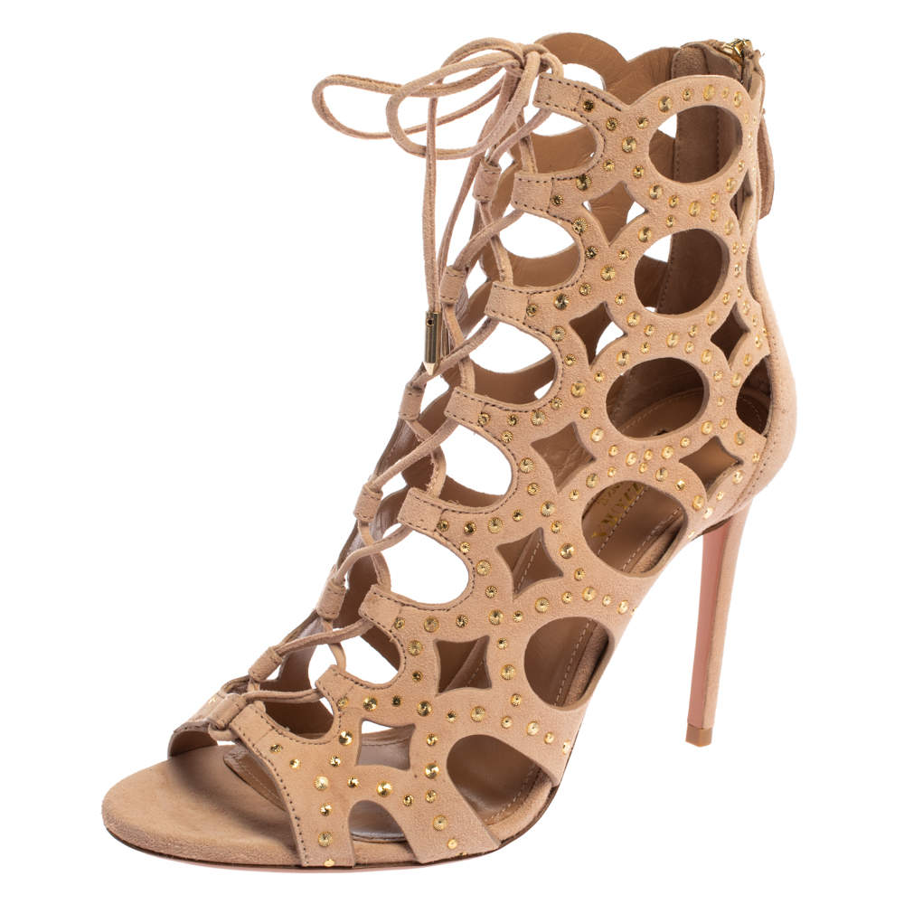 Aquazzura Pink Suede Leather Begum Studded Cut Out Open Toe Ankle Booties Size 36.5