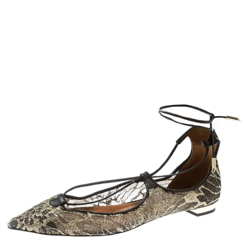 Aquazzura Gold/Brown Lace Christy Lace Up Pointed Toe Flats Size 37