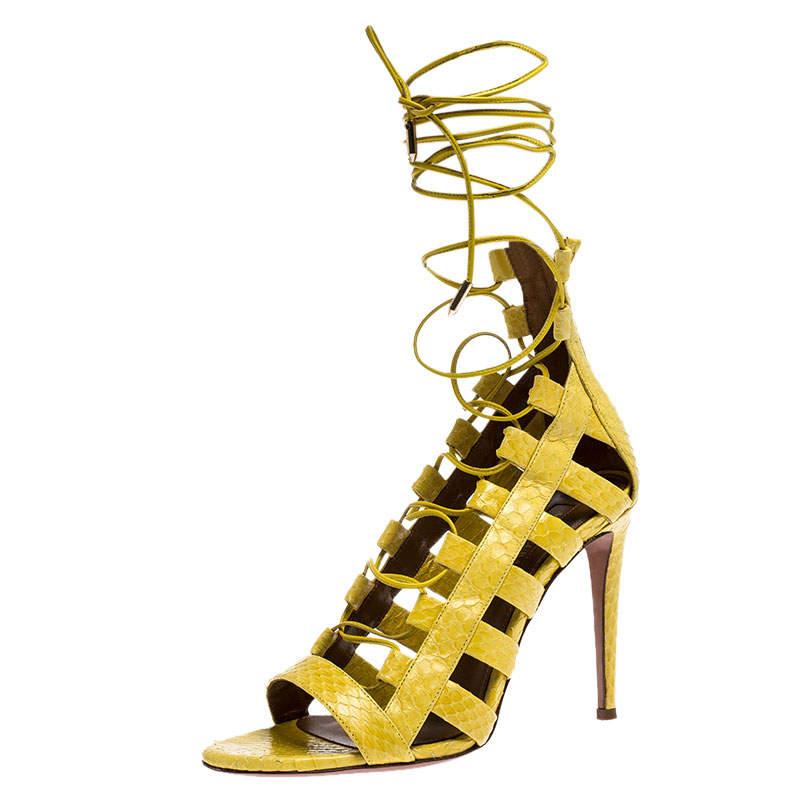 Aquazzura Yellow Python Leather Amazon Lace Up Open Toe Sandals Size 38