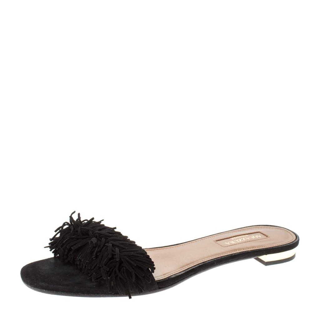 Aquazzura Black Suede Leather Wild Thing Fringe Flat Slide Size 37