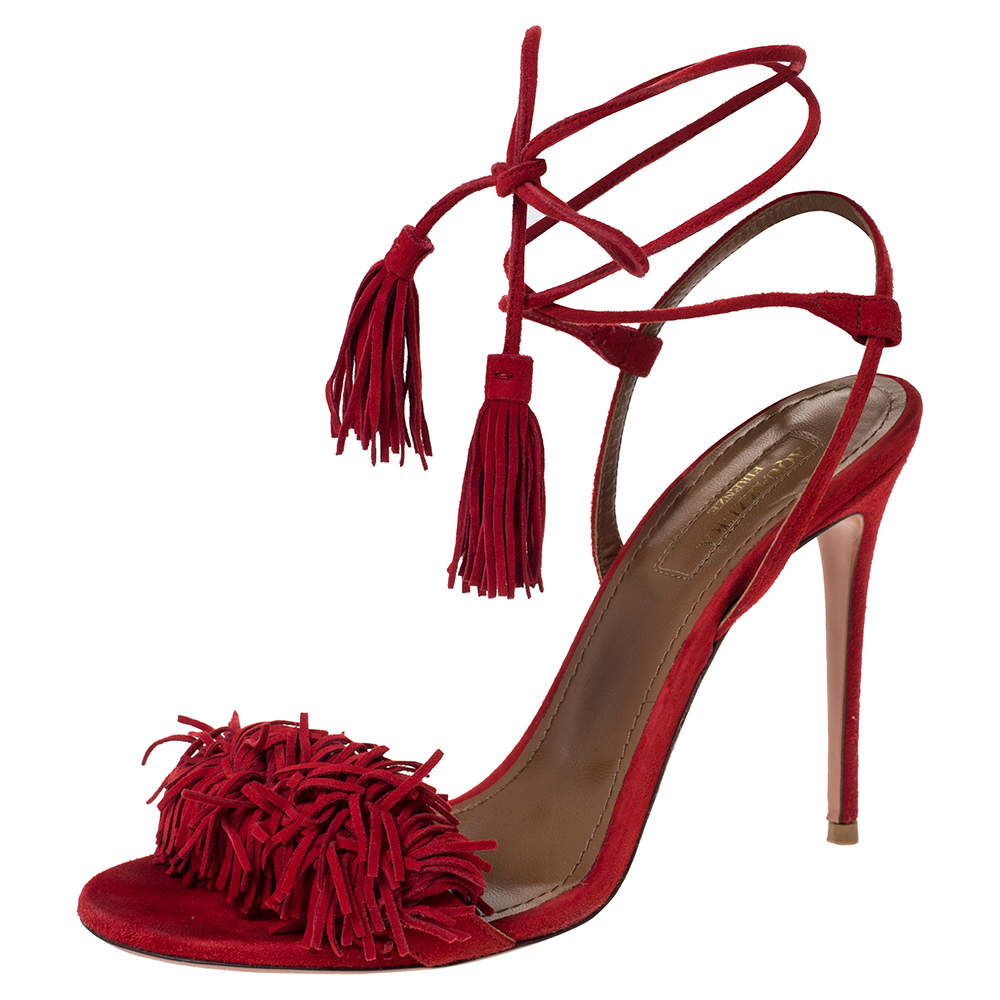 Aquazzura Red Suede Wild Thing Ankle Wrap Sandals Size 36