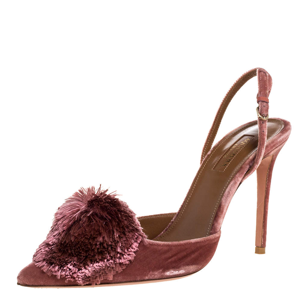 Aquazzura Pink Velvet Powder Puff  Pointed Toe Slingback Sandals Size 39.5