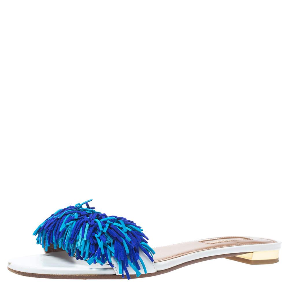 Aquazzura White/Blue Suede Wild Thing Fringed Flats Slides Size 36