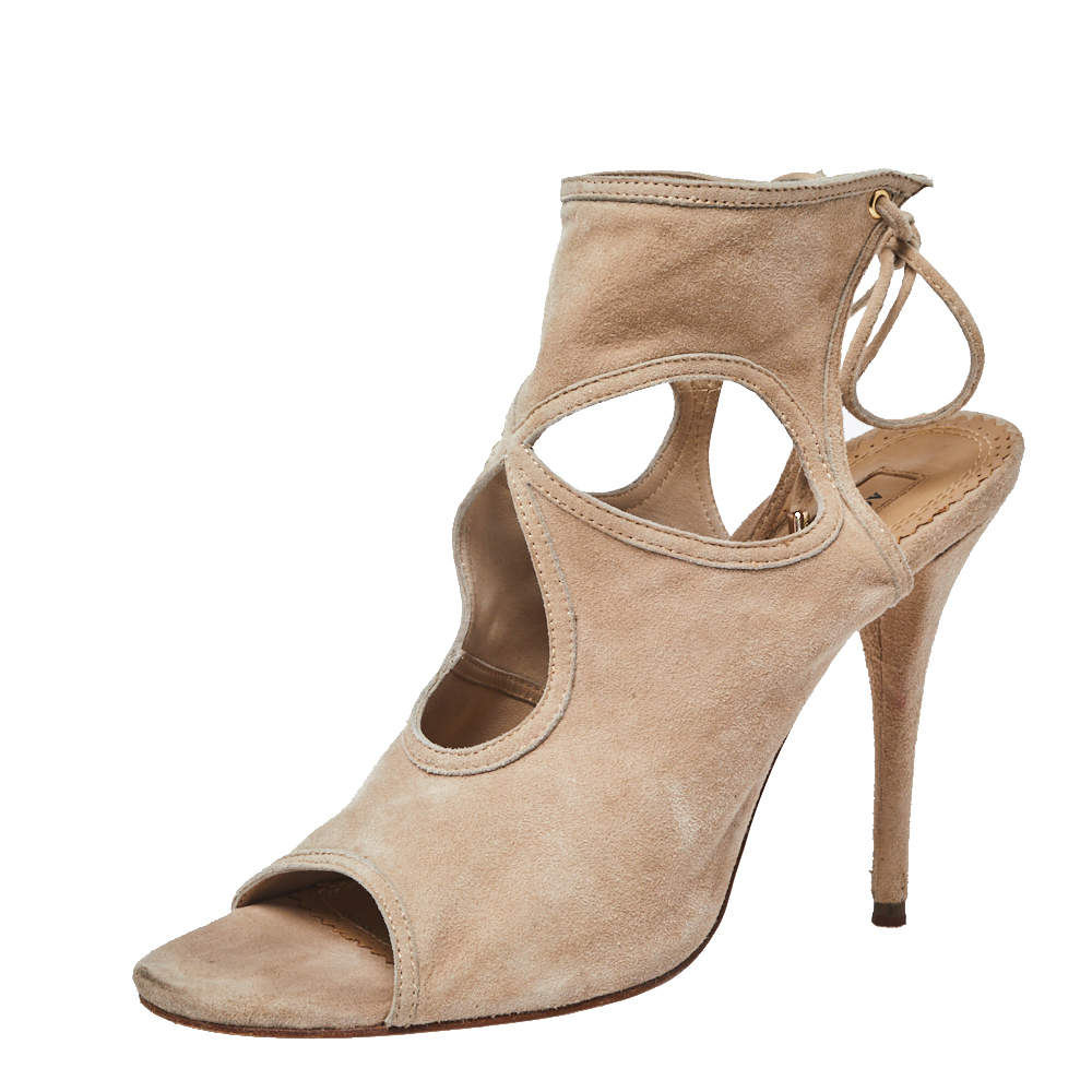 Aquazzura Beige Suede Sexy Thing Cutout Sandals Size 38