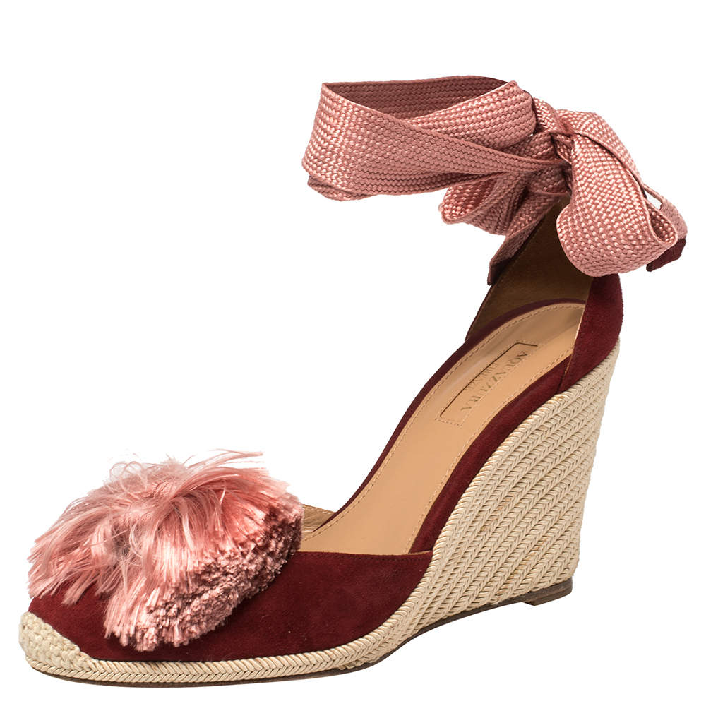 Aquazzura Red Suede Lotus Blossom Espadrille Wedge Ankle Wrap Sandals Size 39