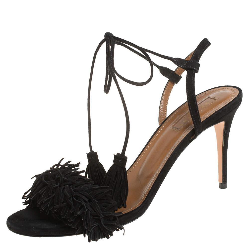 Aquazzura Black Fringed Suede Wild Thing Ankle Wrap Sandals Size 37