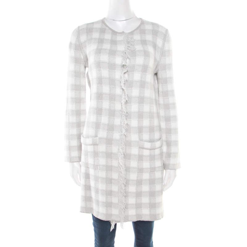 Armani Collezioni Grey and White Checked Fringed Trim Long Cardigan M