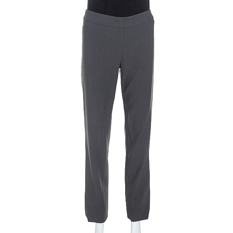 Armani Collezioni Grey Wool High Waist Tailored Trousers S