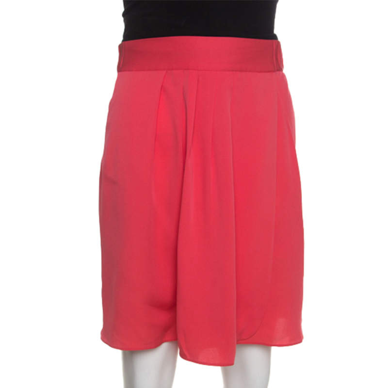 Armani Collezioni Pink Stretch Silk Pleated Skort L