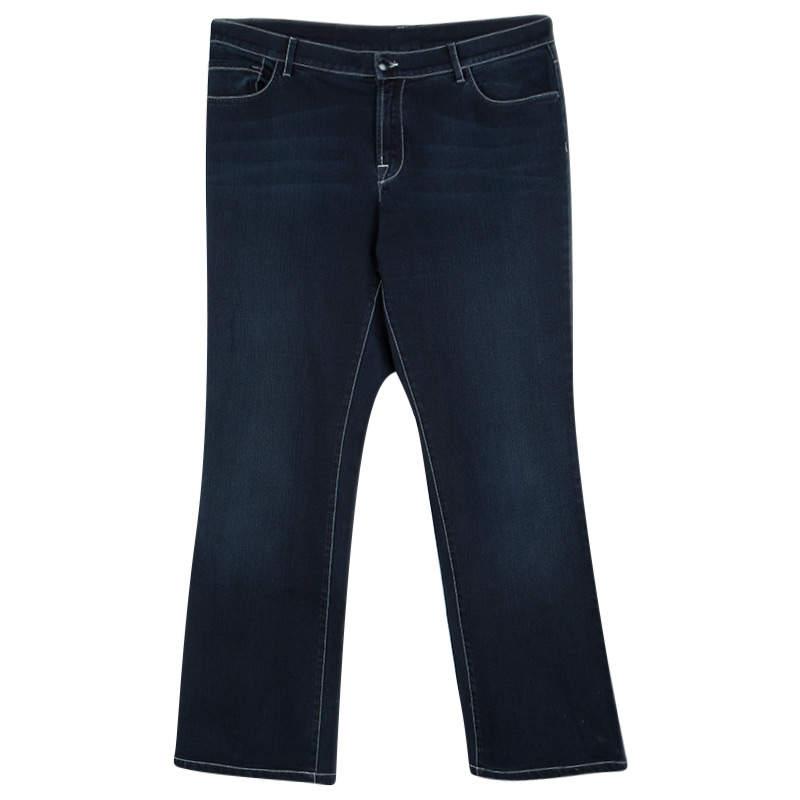 Armani Collezioni Indigo Dark Wash Faded Effect Denim Jeans L