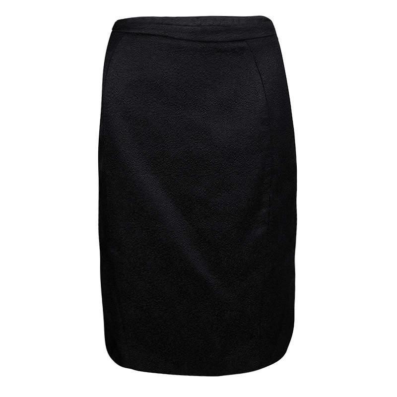 Armani Collezioni Black Textured Wool Silk Pencil Skirt S