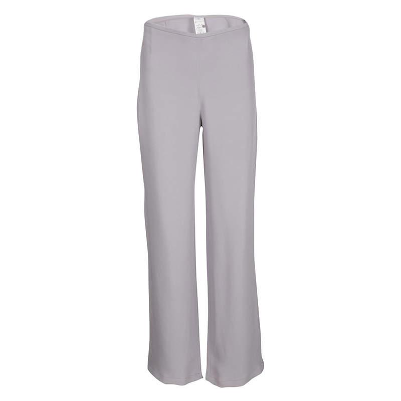 Armani Collezioni Lilac High Waist Straight Fit Trousers M