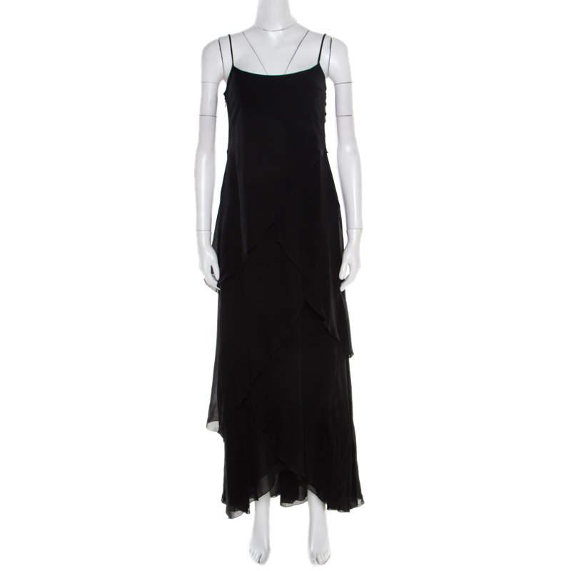 Armani Collezioni Black Draped Sleeveless Maxi Dress S