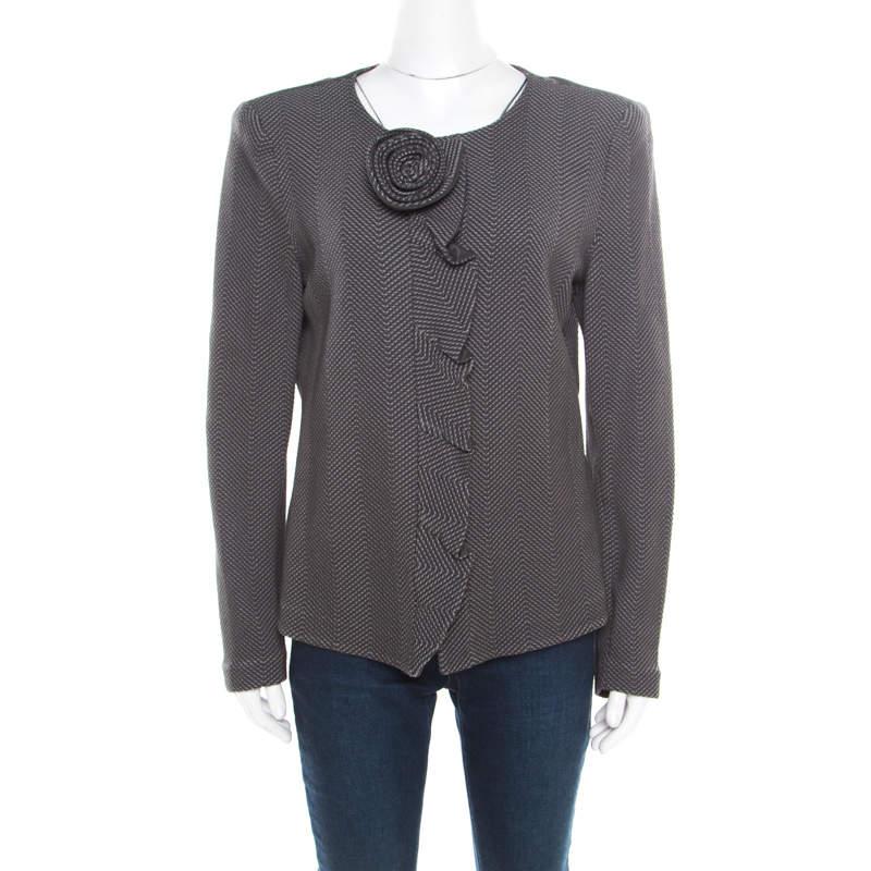 Armani Collezioni Grey Chevron Jacquard Floral Applique Ruffled Trim Jacket XL