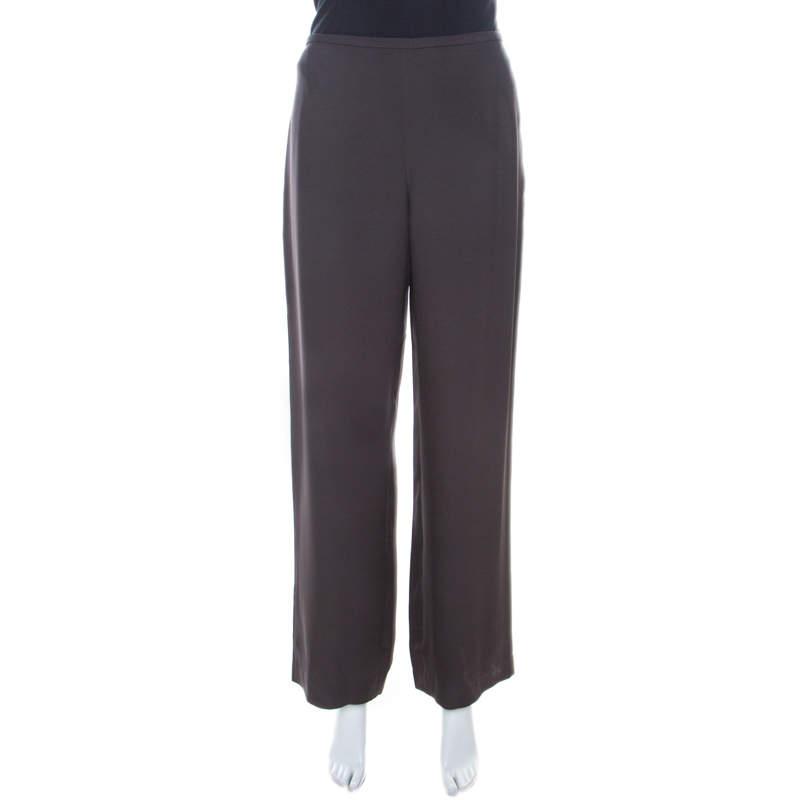 Armani Collezioni Brown Crepe Wide Leg Trouser M