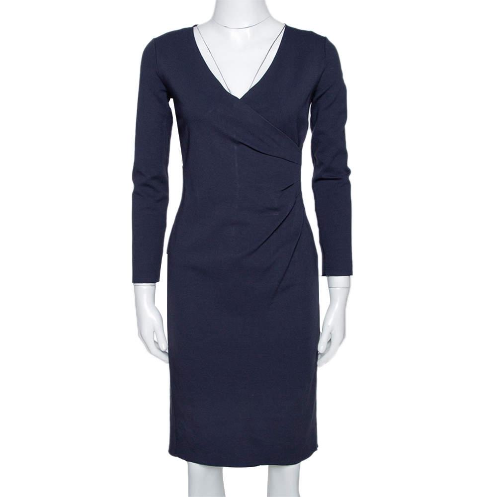 Armani Collezioni Midnight Blue Knit Gathered Fitted Dress S