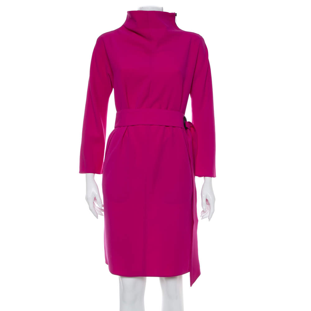 فستان أرماني كوليزوني كبير الحجم حزام كريب بنفسجي مقاس وسط (ميديوم)