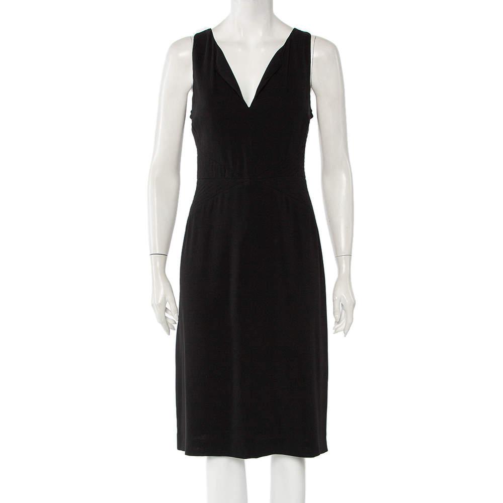 Armani Collezioni Black Crepe Quilted Waist Detail Sleeveless Midi Dress L