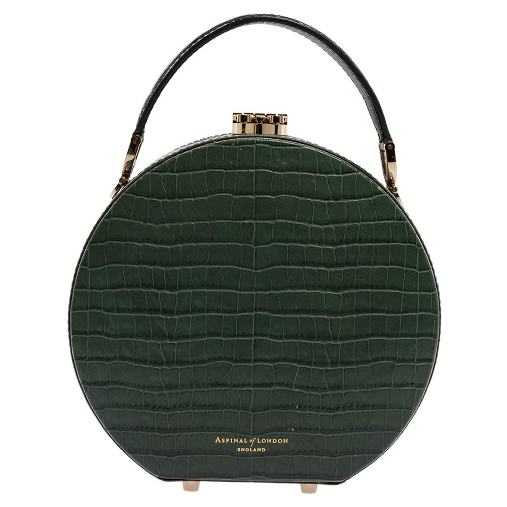 Aspinal Of London Green Croc Embossed Leather Hat Box Shoulder Bag