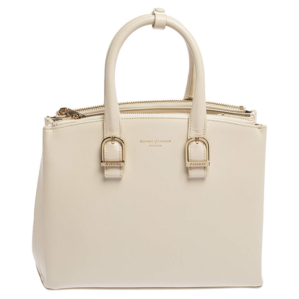 Aspinal Of London Off White Leather Midi Madison Tote