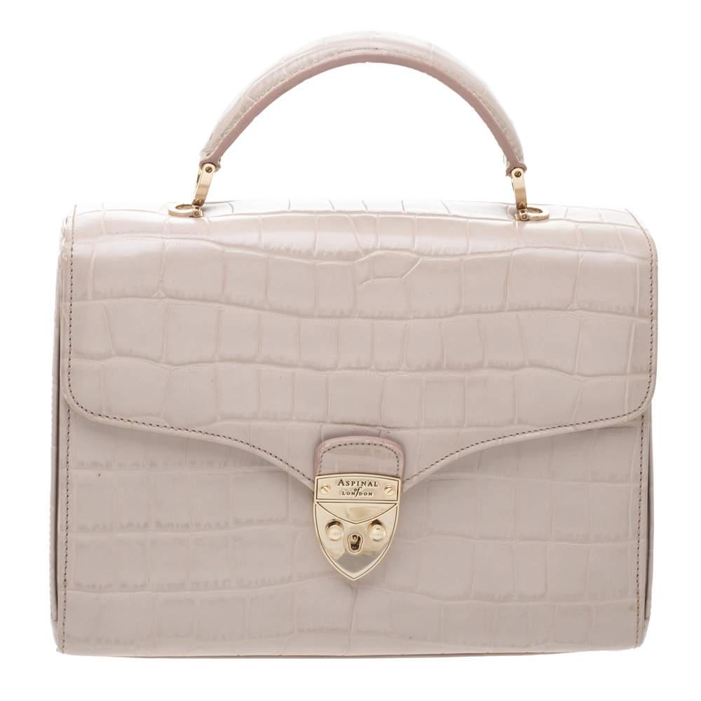 Aspinal Of London Beige Croc Embossed Leather Mayfair Top Handle Bag
