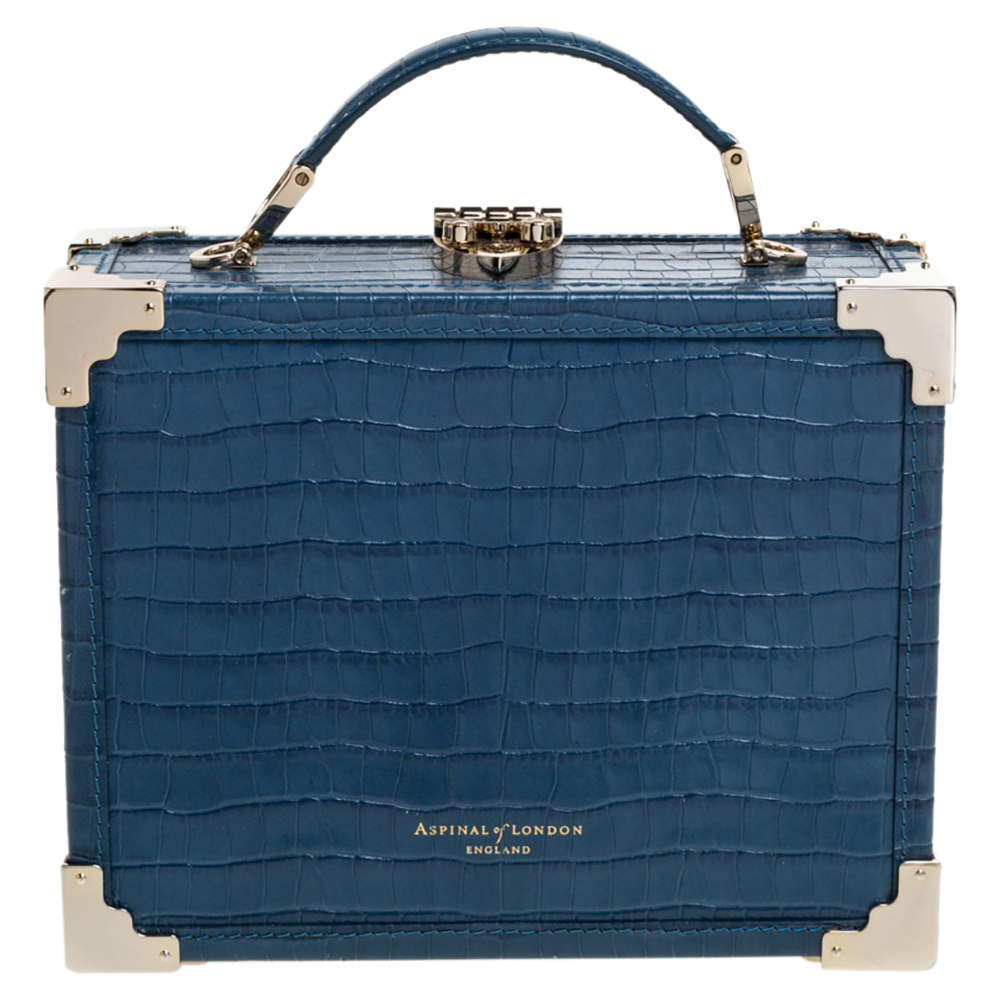 Aspinal of London Blue Croc Embossed Leather Mini Trunk Top Handle Bag