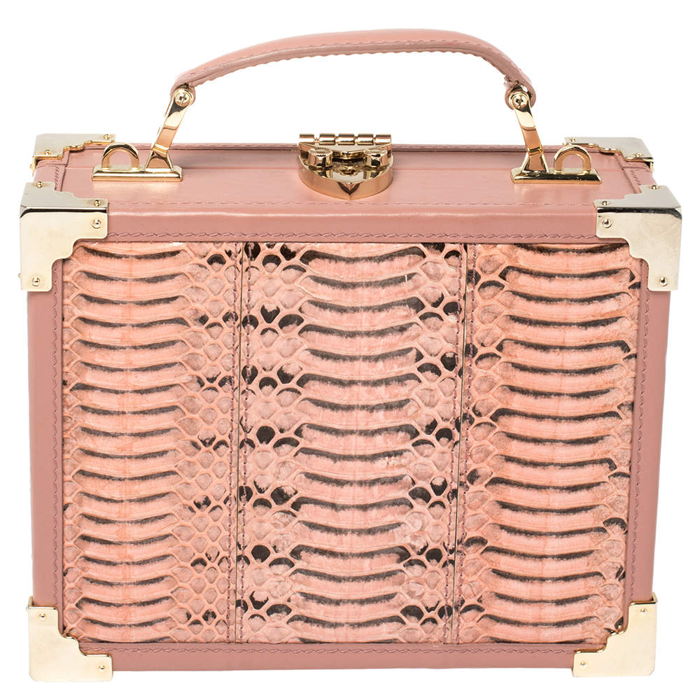 Aspinal of London Pink Watersnake and Leather Mini Trunk Top Handle Bag