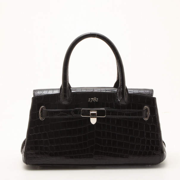 Asprey Black Crocodile '1781 Baby Stretch' Satchel