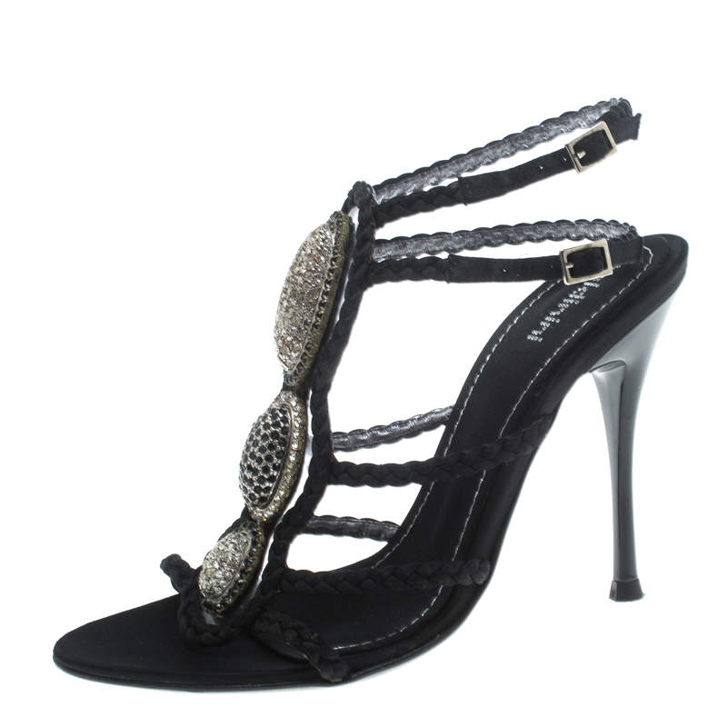 Baldinini Black Braided Satin Crystal Embellished Ankle Strap Sandals Size 36