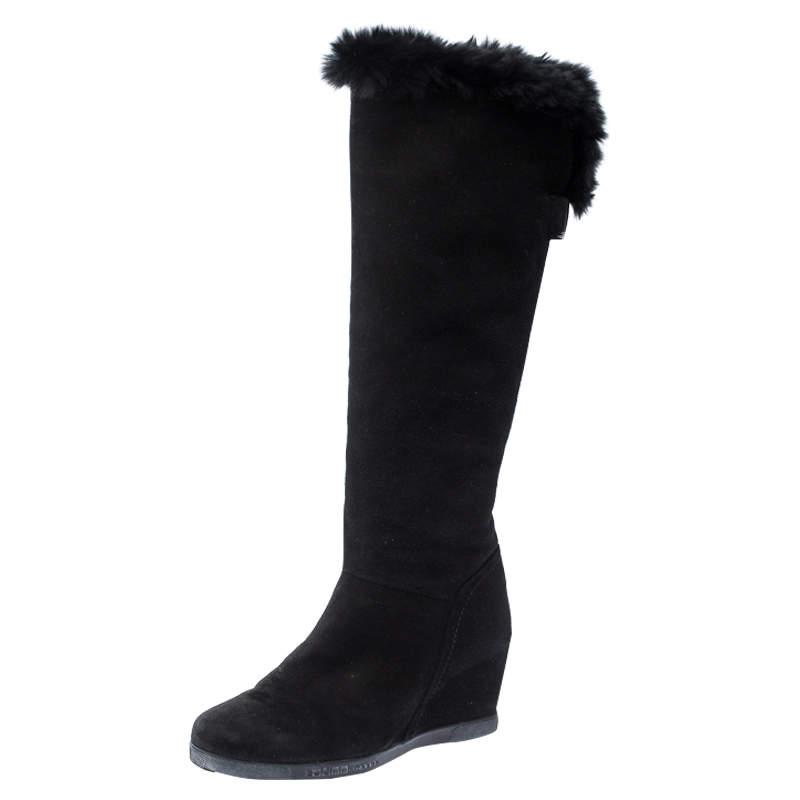 Baldinini Black Suede Wedge Knee Length Boots Size 38.5