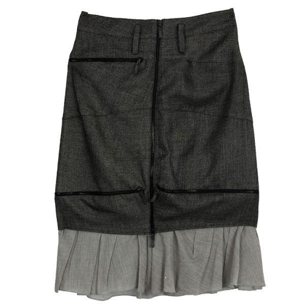 Balenciaga Ruffle Hem Pencil Skirt M