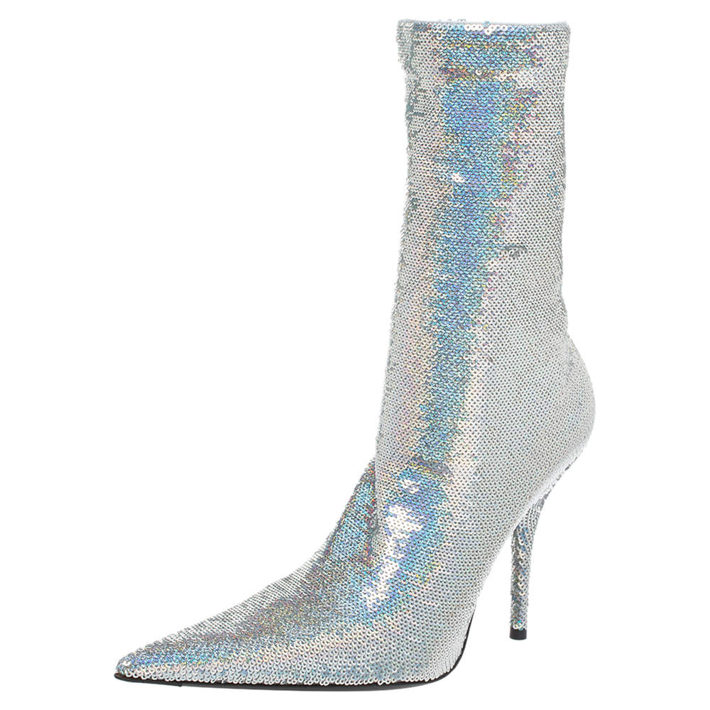 Balenciaga Metallic Silver Sequin Knife Mid Length Boots Size 37