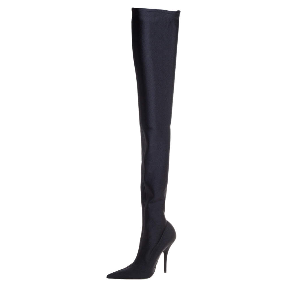 Balenciaga Black Spandex Fabric Knife Over The Knee Boots Size 35