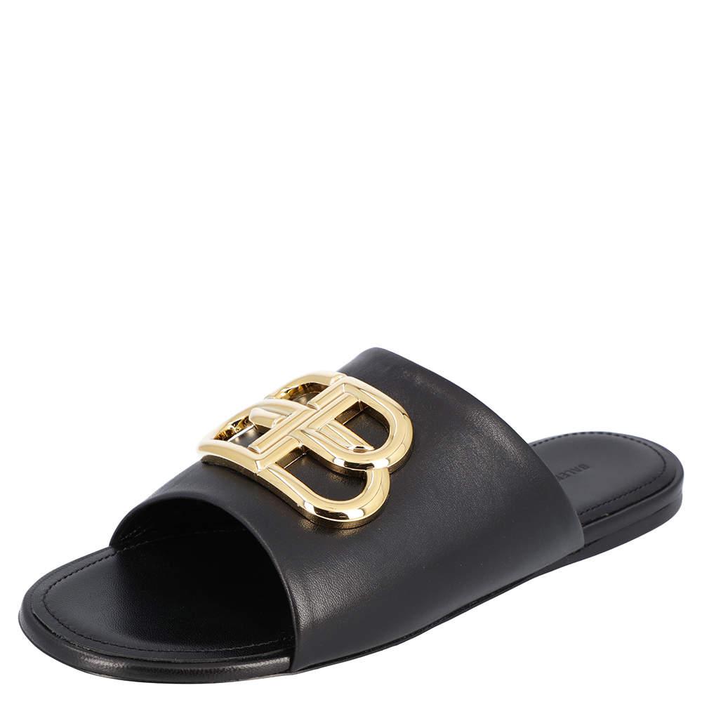 Balenciaga Black Leather Oval BB Mule Sandals Sneakers Size EU 37