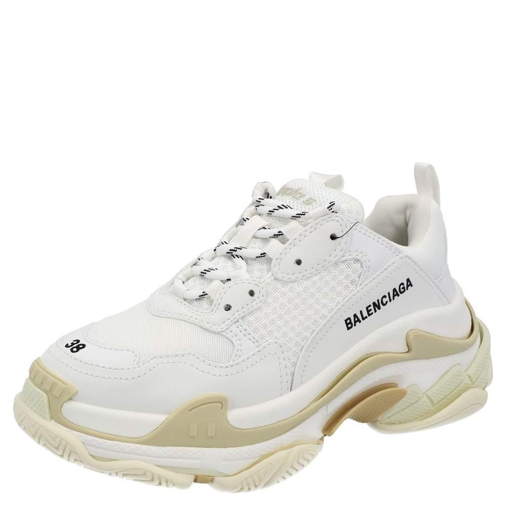 Balenciaga White Faux Leather Triple S Sneakers Size EU 38