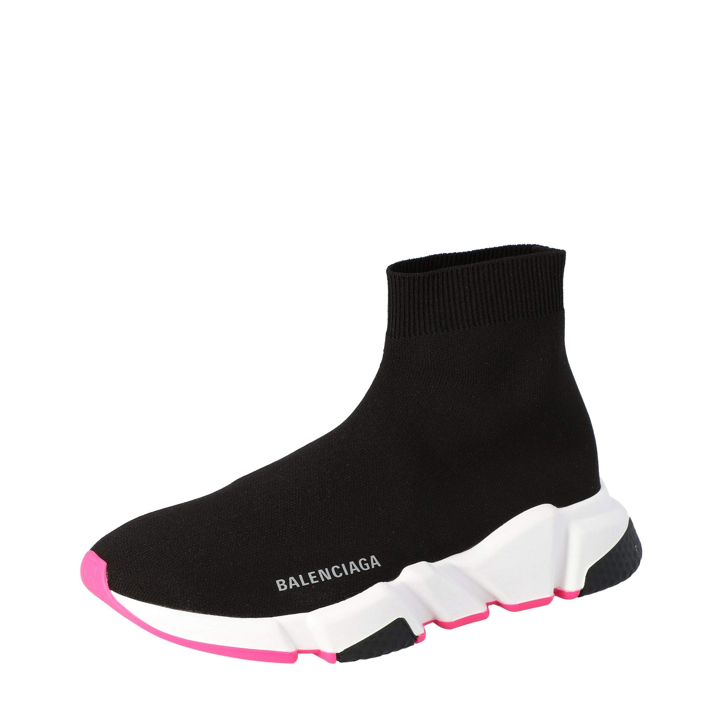 Balenciaga Black/White/Pink Speed Trainers Size 36