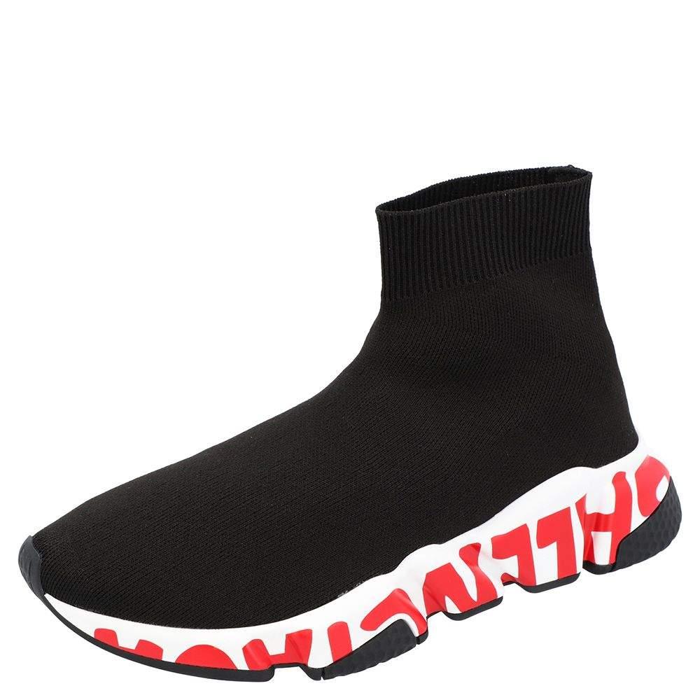 Balenciaga Black/White/Red Speed Graffiti Sneakers Size EU 38
