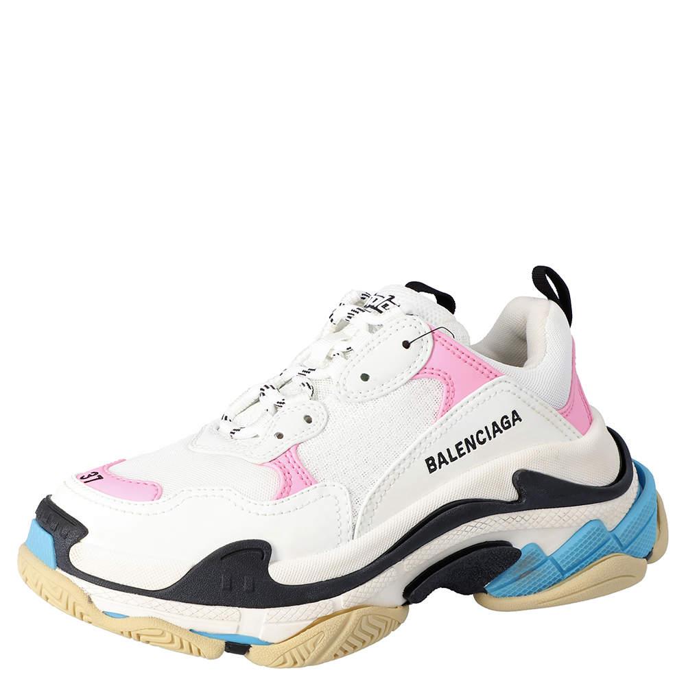 Balenciaga White/Multicolor Triple S Sneakers Size EU 38