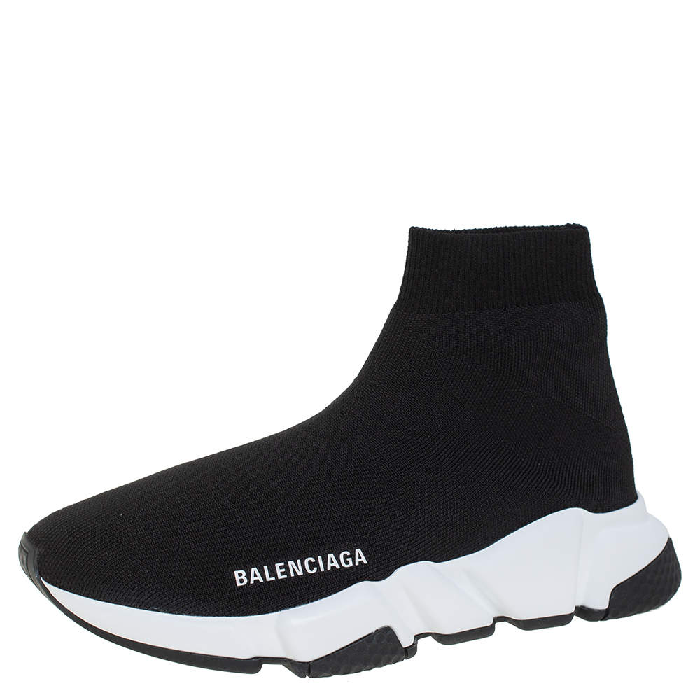 Balenciaga Black Knit Fabric Speed Sneaker Size EU 37