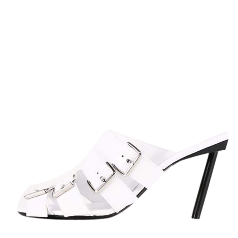 Balenciaga White Leather Buckle 80 Mules Size EU 39