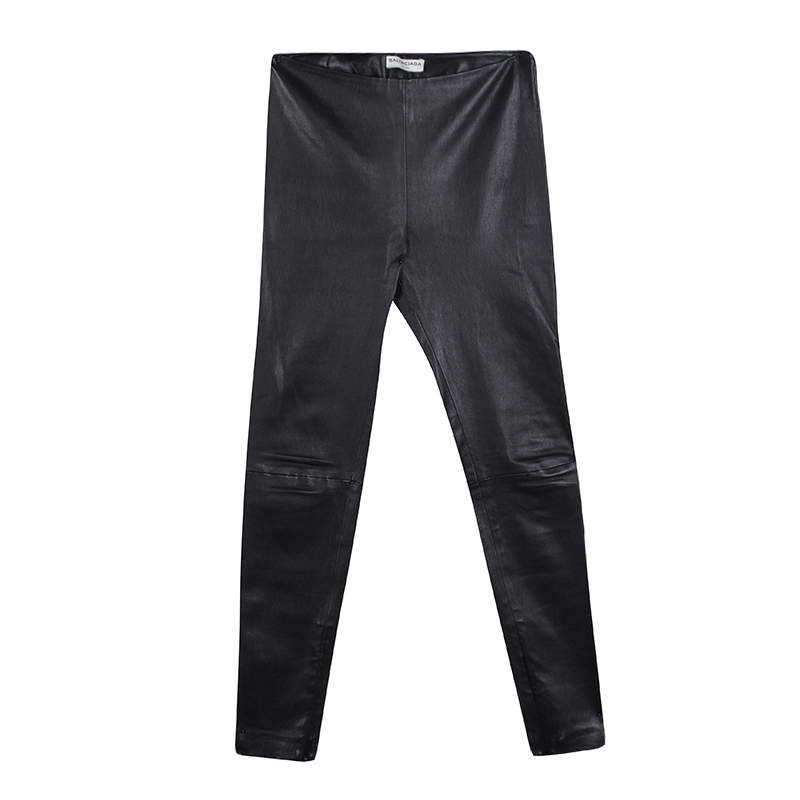 Balenciaga Black Lambskin Leather Skinny Pants S