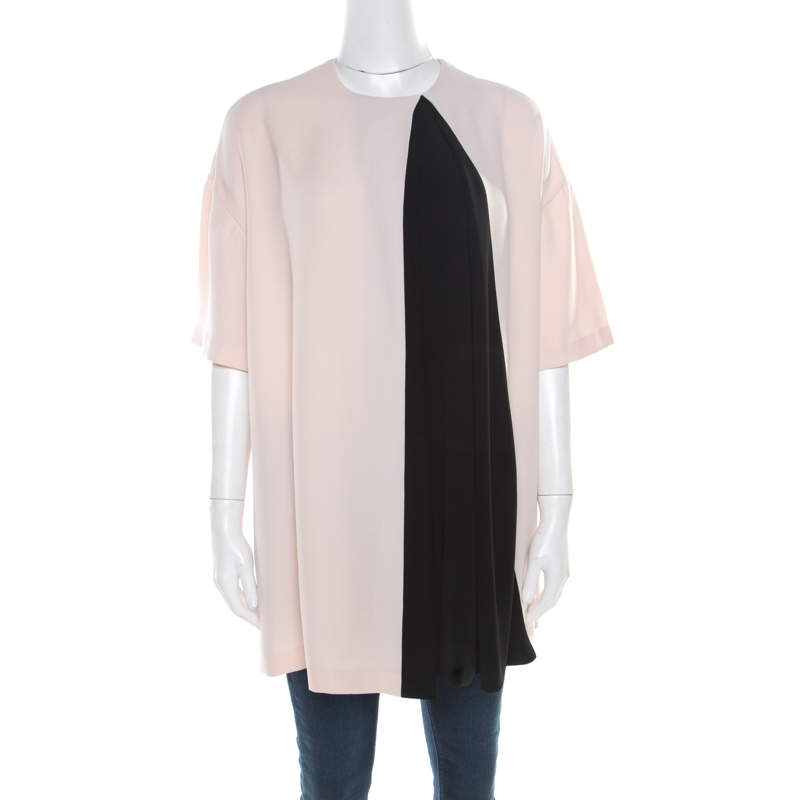 Balenciaga Pink and Black Inverted Pleat Detail Tunic S