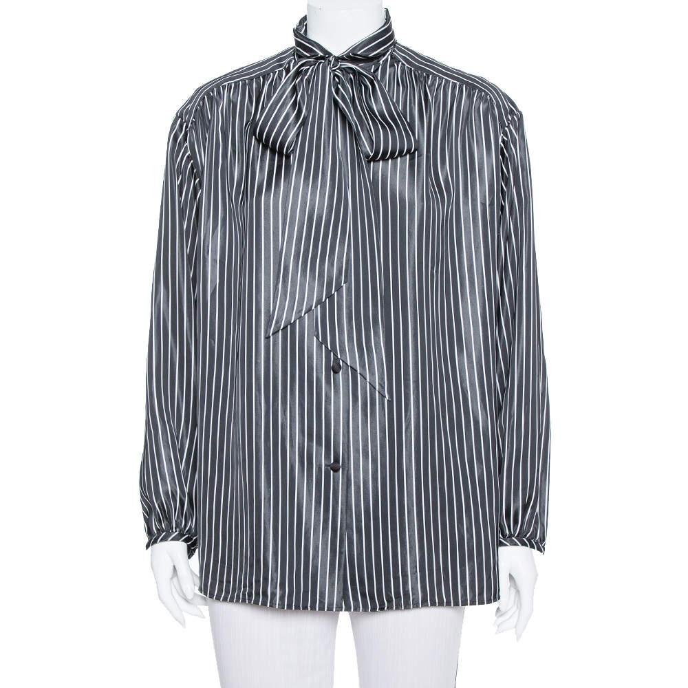 Balenciaga  Black Striped Satin Neck Tie Detail Oversized Shirt S