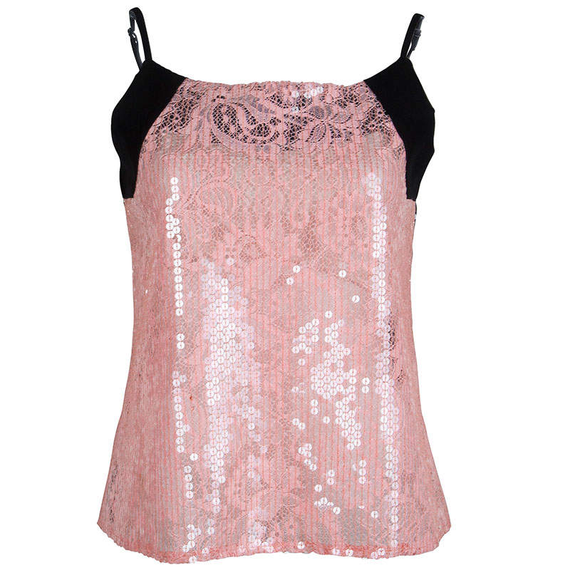 Balenciaga Pink Lace Sequin Embellished Sleeveless Top L